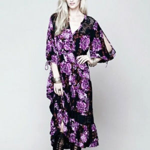Free People S M Boho Floral Maxi Dress Kimono midi
